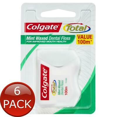 AU60.23 • Buy 6 X COLGATE TOTAL MINT WAXED DURABLE ORAL CARE DENTAL FLOSS 100M