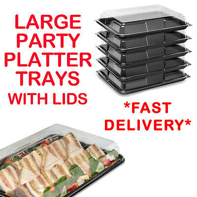 Large Plastic Catering Sandwich Platters Trays With Lids For Party Food Buffet  • 14.99£
