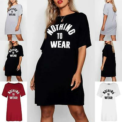 Ladies Womens Short Sleeve Oversized Nothing To Wear Baggy Tunic T Shirt Dresses • 3.99£