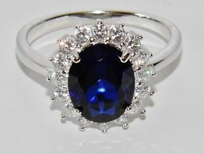 Sterling Silver Blue Sapphire Lady Diana Cluster Ring - All Sizes - 925 Silver • 20.95£