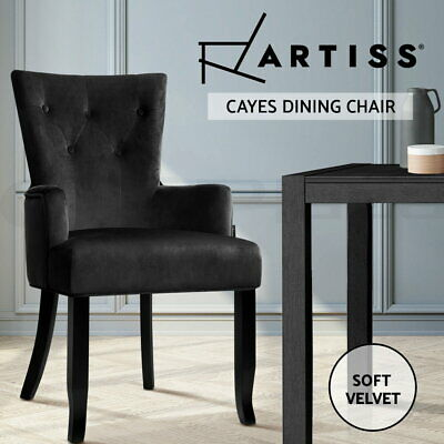 AU109.95 • Buy Artiss Dining Chairs French Provincial Chair Velvet Fabric Timber Retro Black