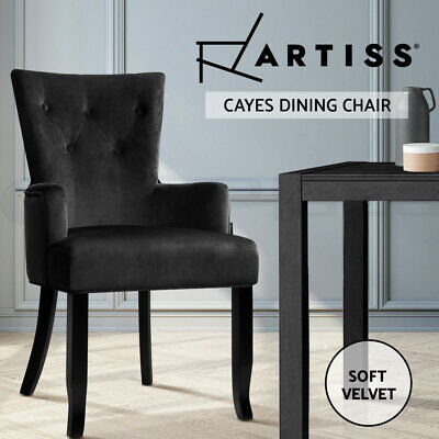 AU125.95 • Buy Artiss Dining Chairs French Provincial Chair Velvet Fabric Timber Retro Black