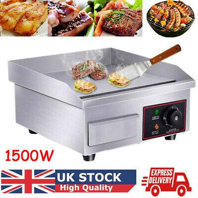 Commercial Electric Griddle Kitchen Hotplate Countertop BBQ Grill Bacon UK Plug • 61.89£