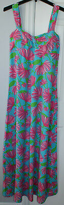 $6 • Buy Women's Size Medium Lilly Pulitzer Clark Long Maxi Pink Floral Blue Padded Dress