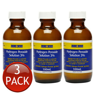 AU21.17 • Buy 3 X GOLD CROSS HYDROGEN PEROXIDE 3% ORAL GARGLE MOUTHWASH WOUND CLEANSING 100mL