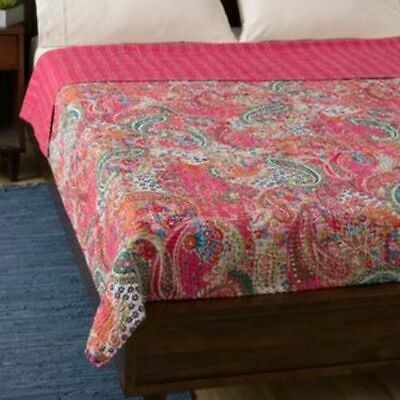 Indian Handmade Twin Cotton Kantha Quilt Paisley Print Throw Blanket Bedspread  • 28.60£
