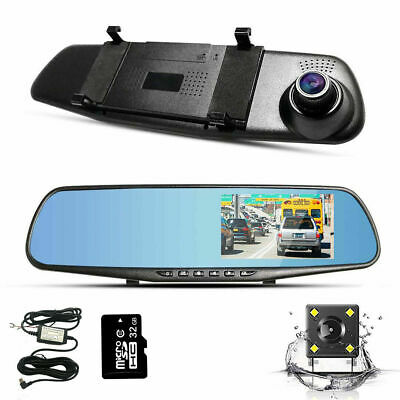 4.3  1080P Dual Lens Mirror Dash Cam Rearview With 32GB TF Card And Hardwire Kit • 34.99£