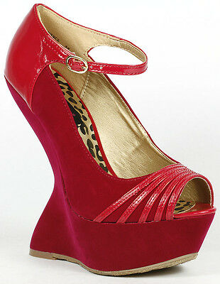 Fuchsia Pink Suede Peep Toe Mary Jane Curved Platform Wedge Dollhouse Fierce • 10.92£