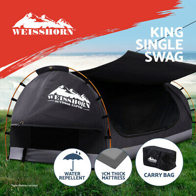 AU199.95 • Buy Weisshorn Swag Deluxe King Single Camping Swags Canvas Free Standing Dome Grey