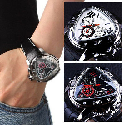 FASHION JARAGAR Men Leather Selfwinding Mechanical Automatic Triangle Dial Watch • 3.89£
