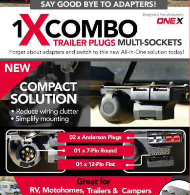 AU64 • Buy Onex Combo Trailer Plug INC 2 X Anderson Plugs 1 X 7 Pin Round 1 X 12 Pin Flat