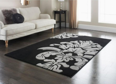 Large Black & Grey Area Rug Damask 110 X 160 X 230 Carpet 5ft 7ft Living Room • 24.95£