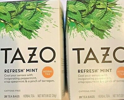 £13.45 • Buy 2 TAZO Refresh Mint Herbal Tea Bags 2 Boxes, Each With 20 Filterbags