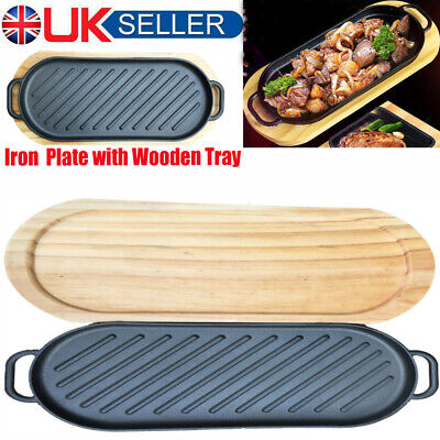 Large Non-Stick Cast Iron Reversible Griddle Plate BBQ Hob Grill Enamel Pan Tray • 17.49£