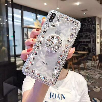 Luxury 3D Diamonds Bling Stand Phone Clear Cases Crystals For IPhone 11 Pro Max • 4.99£