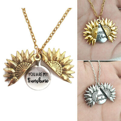 AU3.59 • Buy You Are My Sunshine Open Locket Sunflower Pendant Necklace Jewellery Gifts Love