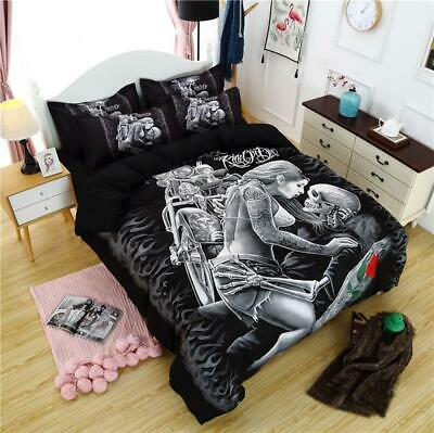 Skull Love Duvet Cover With Pillow Cases Gothic Quilt Cover Bedding Set All Size • 29.70£