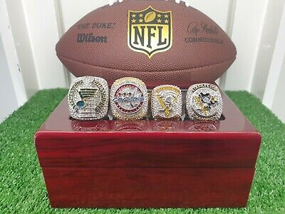 AU210 • Buy 2019,18,17,16 NHL Stanley Cup Championship Ring Set. Blues,Capitals And Penguins
