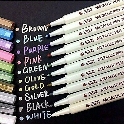 Metallic Marker Pen Pens Gold White Pink Blue Diy Craft Scrapbook Card • 1.49£