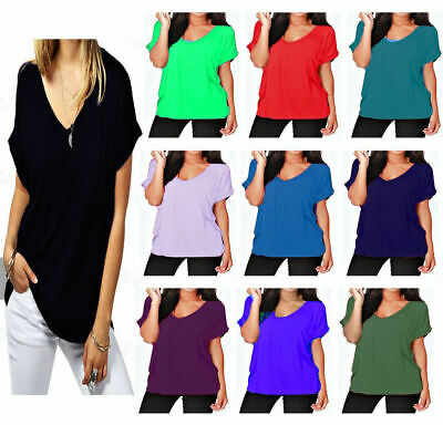 £6.99 • Buy Womens T Shirt Ladies Oversized Baggy Turn Up Batwing Loose V Neck Plus Size Top