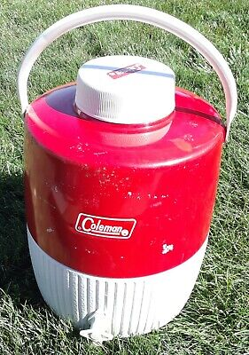 $39.99 • Buy Vintage 1963 Coleman 2 Gallon Red & White Water Cooler Jug W/ Spout ~ Camping