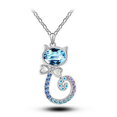 AU8.92 • Buy Beautiful Jewellery For Women Blue Crystal Lovely Cat Pendant Necklace N407