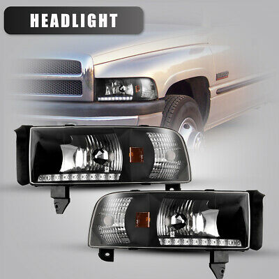 $102.99 • Buy For 94-02 Dodge Ram 1500 2500 3500 Headlights LED DRL Front Lamps Black/Clear