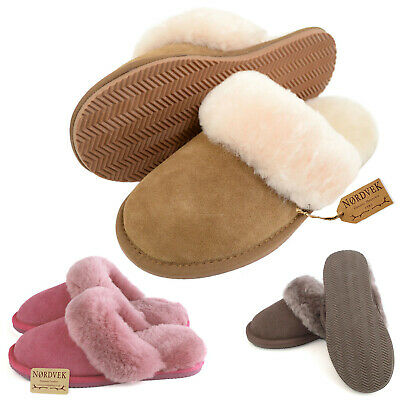 Nordvek Ladies Genuine Sheepskin Mule Slippers Hard Wearing Sole Womens With Box • 29.90£