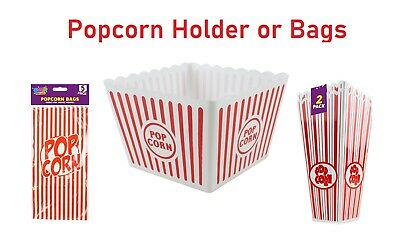 Plastic Novelty Popcorn Bag Or Carton Box Container Movie Party Snacks • 6.50£