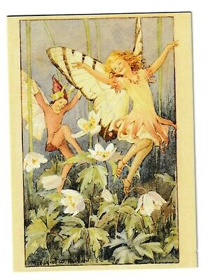 Margaret Tarrant Wood Anemone Fairy Medici Blank Greeting Card • 1.75£