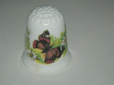 Coalport China Thimble, Featuring Cyrnus Red Admiral Butterfly • 3.50£
