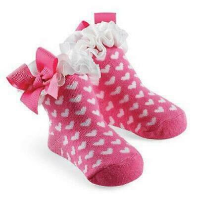 Mud Pie White Hearts On Pink Ruffled Ribbon Baby Gift Socks • 3.99£