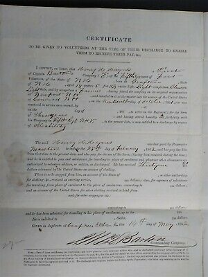 $60 • Buy New Hampshire Civil War: 1862 Henry Haines, 5th NH Discharge Paper
