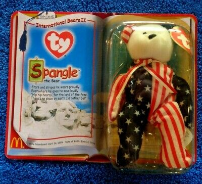 $509.52 • Buy 1999 SPANGLE WHITE FACE BEAR BEANIE BABY USA Flag Design In Original Package NOS