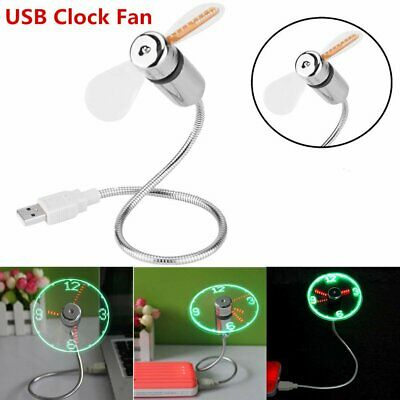 AU21.88 • Buy 1PC LED Clock USB Fan Powered Cooling Flashing Real Time Display Function Mini