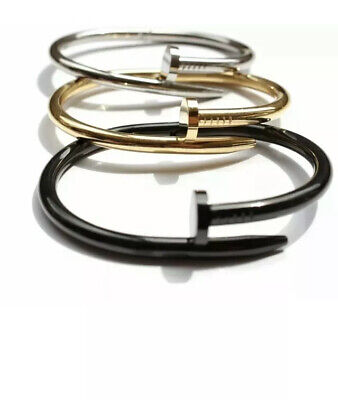 $9.99 • Buy Ladies Stainless Steel,Gold,Round Nail Bangle Bracelet Unisex