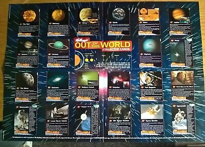 Kelloggs Cereal Trade Cards Out Of This World Space Full Set On Wallchart Poster • 7.99£