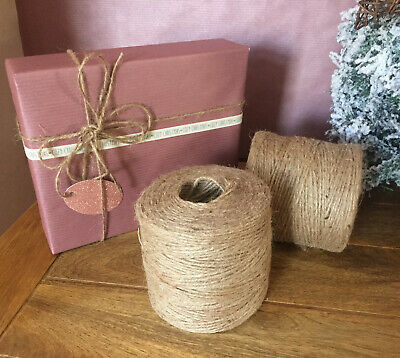 5M 3ply Natural Jute Twine Hessian Rustic Christmas String Brown Craft • 1.45£
