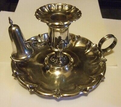 Antique Silverplate Chamberstick Candle Holder Snuffer • 73.83£