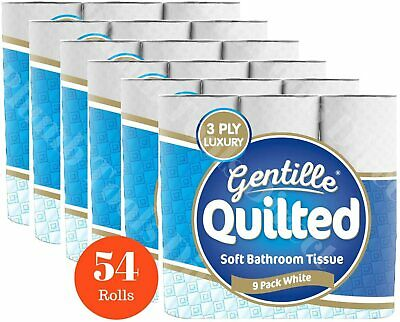 Gentille Quilted 3Ply White Toilet Tissue Toilet Paper 54 Rolls (6 X 9 Pack) • 18.99£