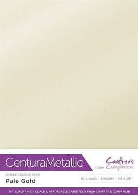Crafter's Companion Centura Metallic A4 Single Colour 10Pk Card Stock Pale Gold • 2.99£