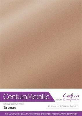 Crafter's Companion Centura Metallic A4 Single Colour 10Pk Card Stock - Bronze • 2.99£