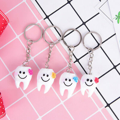 2x Simulation Tooth Pendant Keychain Small Promotional Gifts Dental Hospitals~DS • 2.31£