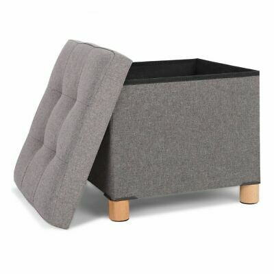 Folding Stool Seat Storage Space Box Chair Cube Footstool Pouf Bench 38x38x35cm • 15.99£