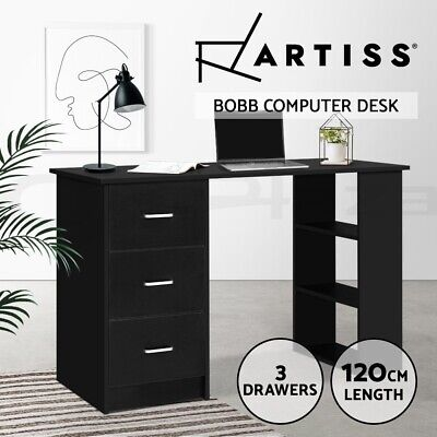 AU179.90 • Buy Artiss Office Computer Desk Student Study Table Workstation Drawers 120cm Black