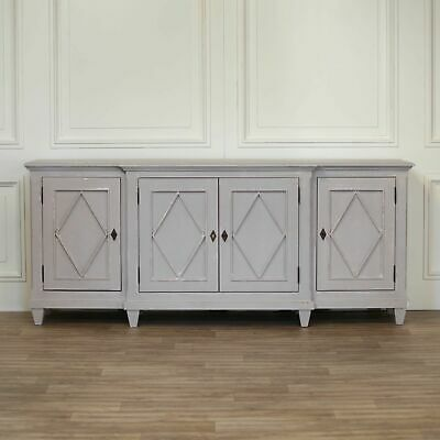 Large French Style Aged Grey Painted Distressed Breakfront Sideboard • 1,025£