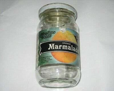 Vintage MARMALADE GLASS JAM JAR With LABEL Newtime Foods Hastings Sussex • 8.99£