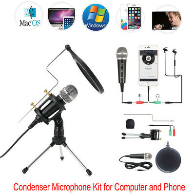AU21.90 • Buy 3.5mm Condenser Microphone Karaoke KTV Recording Mic W/ Stand For Computer Phone