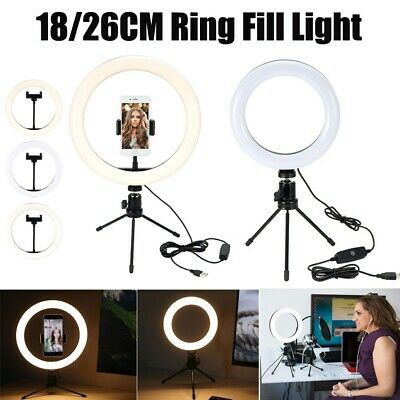 AU39.99 • Buy LED Ring Fill Light Dimmable Lamp Camera Phone Stand Make Up Video Live Studio