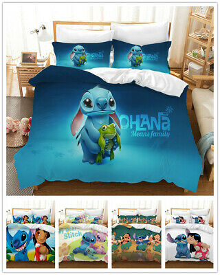 $47.49 • Buy 3D Stitch And Lilo Duvet Cover Kid Bedding Set Quilt Cover Pillowcases Polyester